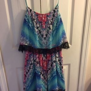 bebe Dresses - Bebe Tie Dye Sheer Dress (lined)